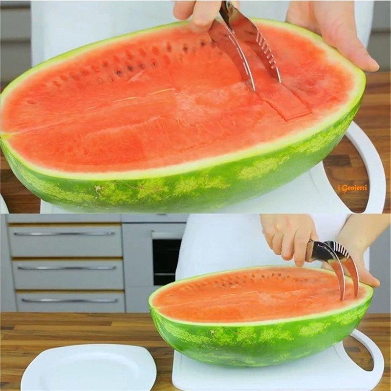 1 stücke Premium Qualität Edelstahl Obst Schneller Melonenschneider Server Wassermelone Corer Cantaloupe Cutting Seeder Slicer Scoop