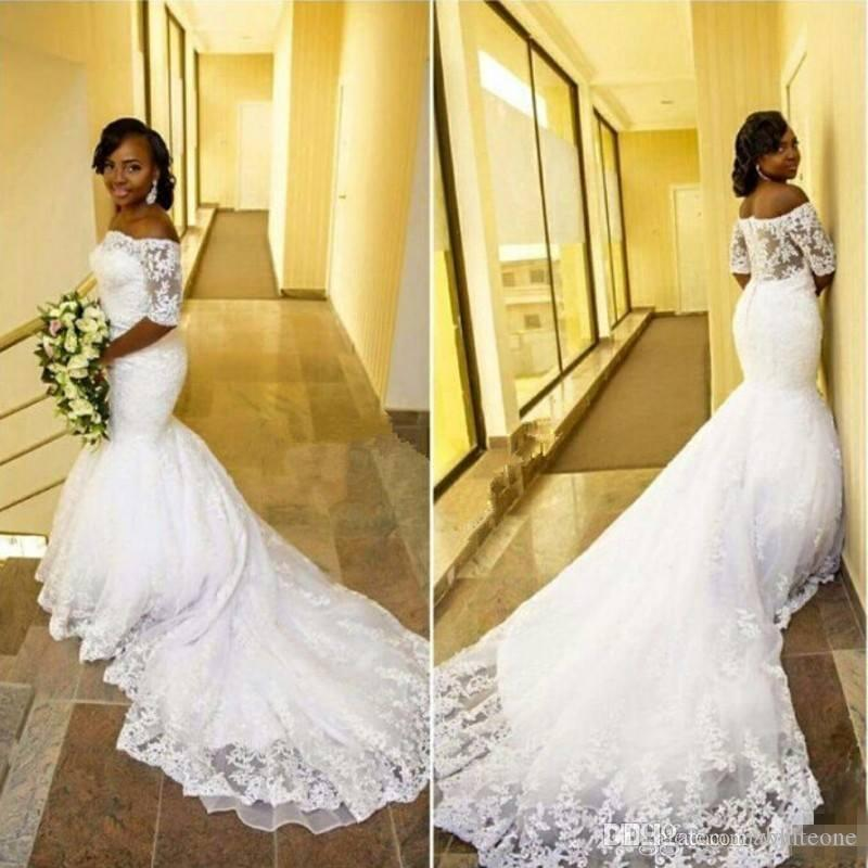 990b4bc3b232 New Design 2017 Plus Size Arabic Mermaid Wedding Dresses Short Sleeves Off  Shoulder Court Train Lace Vestidos De Novia Bridal Wedding Gowns Chiffon  Wedding ...