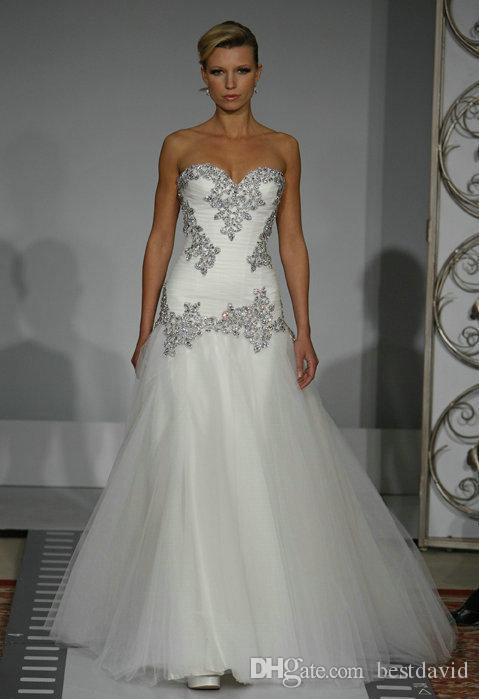 Cheap Bling Bling Mermaid Tulle Wedding Dress Sweetheart Beaded - Bling Mermaid Wedding Dress