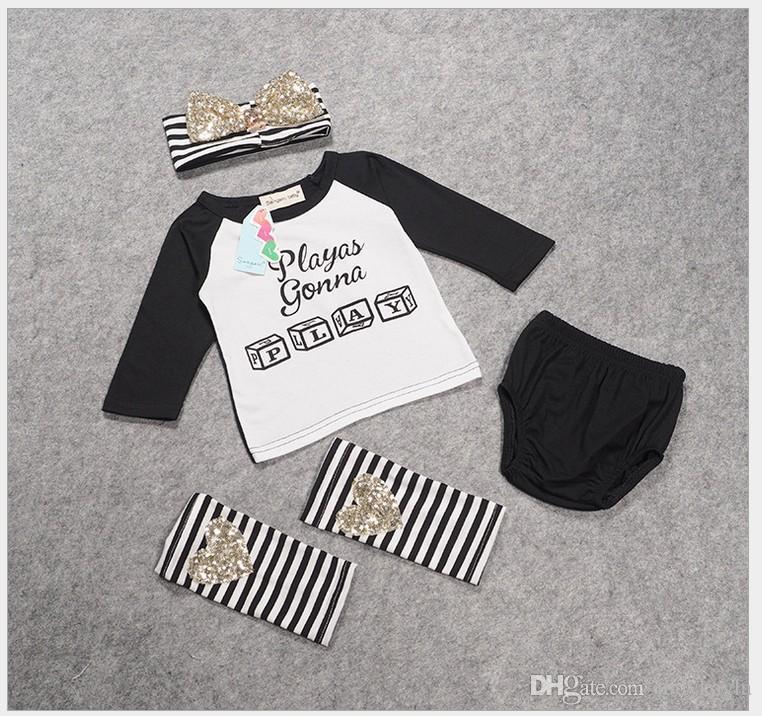 4 Pçsset 2016 Novas Cartas de Meninas Do Bebê Do Outono Impresso T-shirt de Manga Longa Tops + Shorts + Listrado Polainas + Headband Crianças Ternos Menina Outfits
