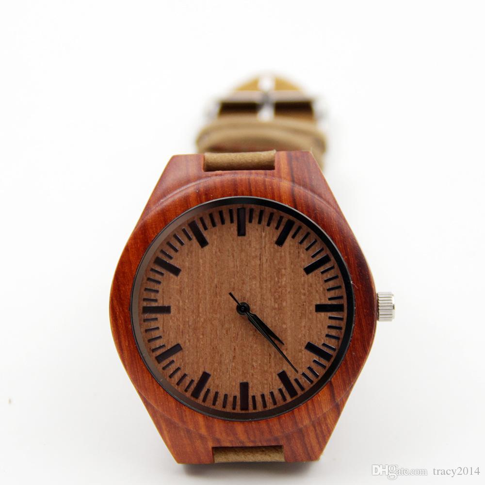 Movimiento de cuarzo de Japón caliente 2035 Relojes de madera de los hombres Relojes de madera de bambú natural con cuero genuino de cuero Idea regalos Regalos del día del padre