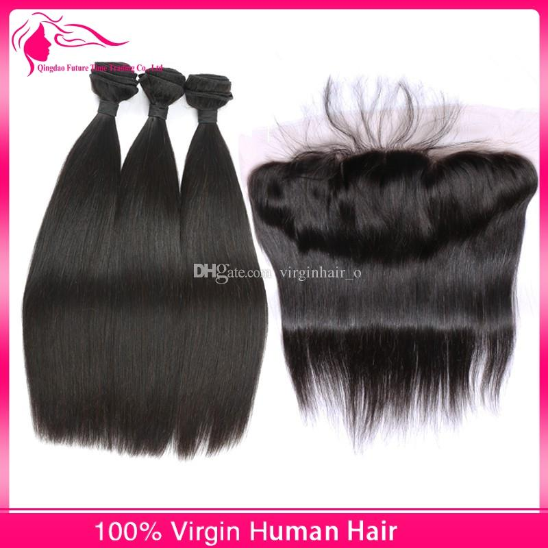 Cheap Ear To Ear Lace Frontal Closure With Bundles Filipino Human Hair Silk Straight Weave With Full Lace Frontal
