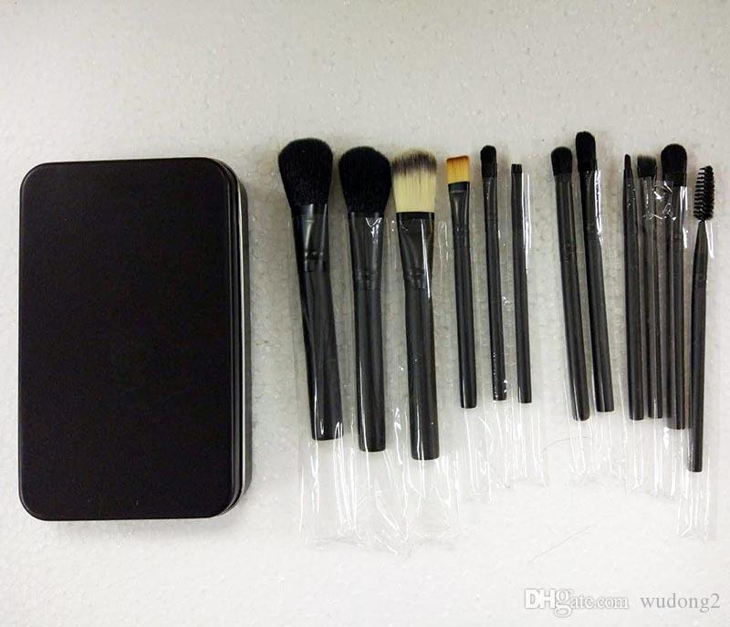 Hot Makeup set Professional black Makeup Brushes Set 12Pcs With Iron Box