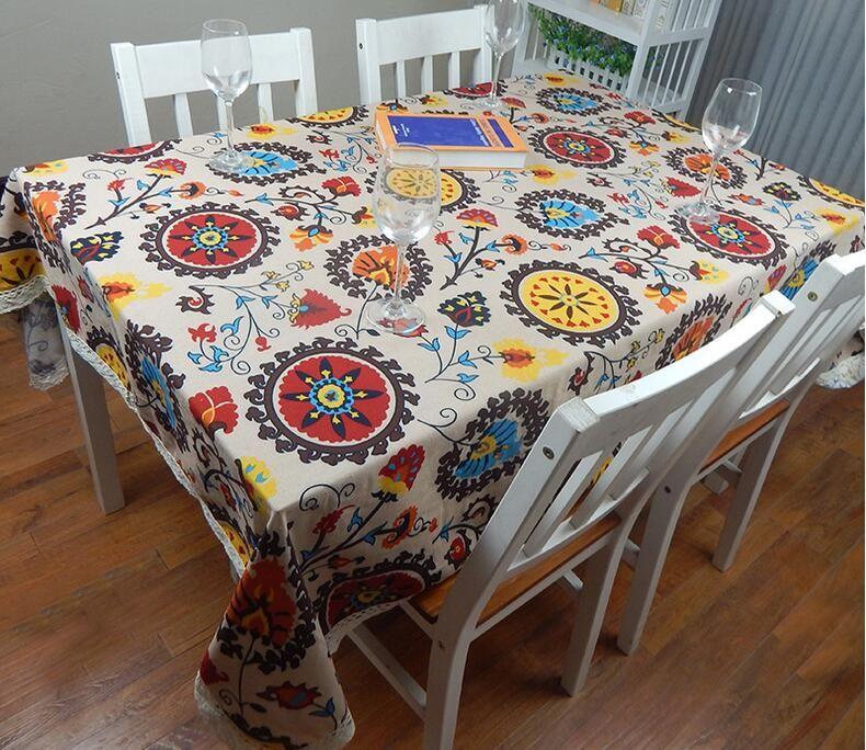 Algodón europeo de lino estilo mediterráneo manteles cuadrados Girasol cubre imprimir mantel para el paño de la boda