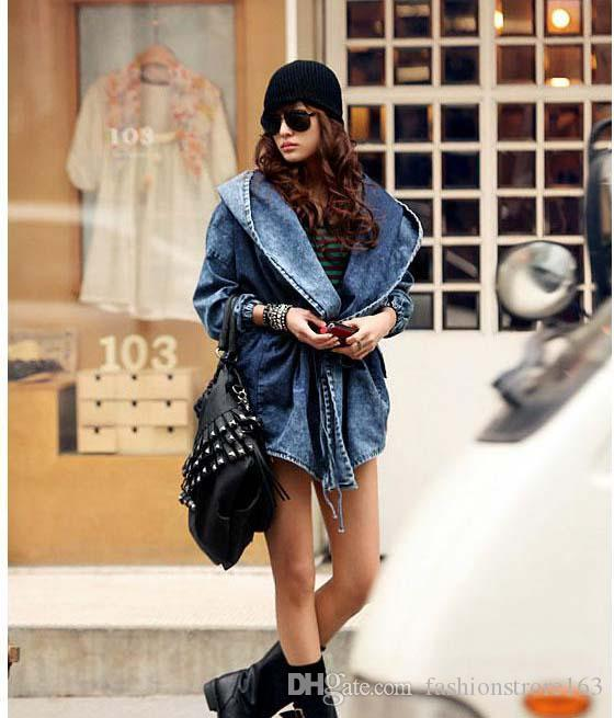 Fashion Women Lady Denim Trench Coat Hoodie Hooded Outerwear Jean Jacket Cool