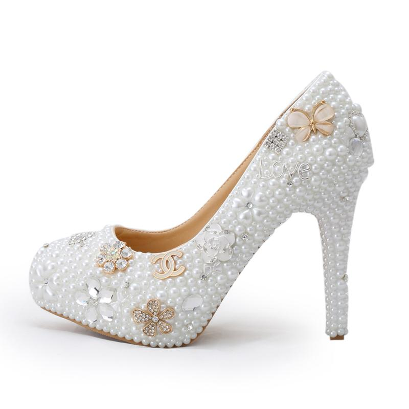 506300a39 Luxury Handmade Crystal Pearl Wedding Shoes White Pearl Bride Dress Shoes  With Diamond Coming Of Age Ceremony Party Pumps Purple Wedding Shoes Uk  Retro ...