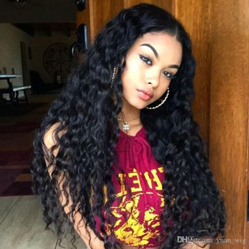 Glueless Full lace Human Hair Wig Curly Unprocessed Virgin Brazilian Deep Curly Wig For Black Woman Natural Hairline