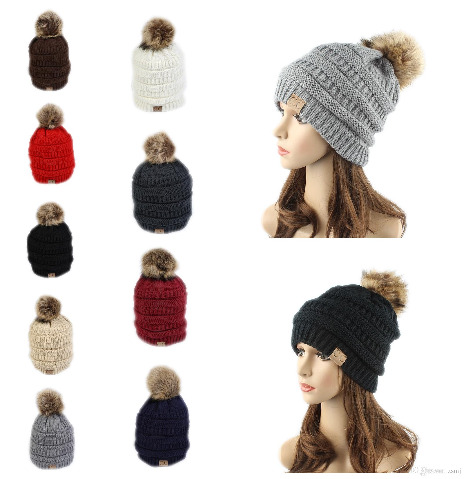 Fashion CC Label Fur Poms Beanie Winter Headware Knitted Cable Skull Caps Beanie Outdoor Hats for Women Men