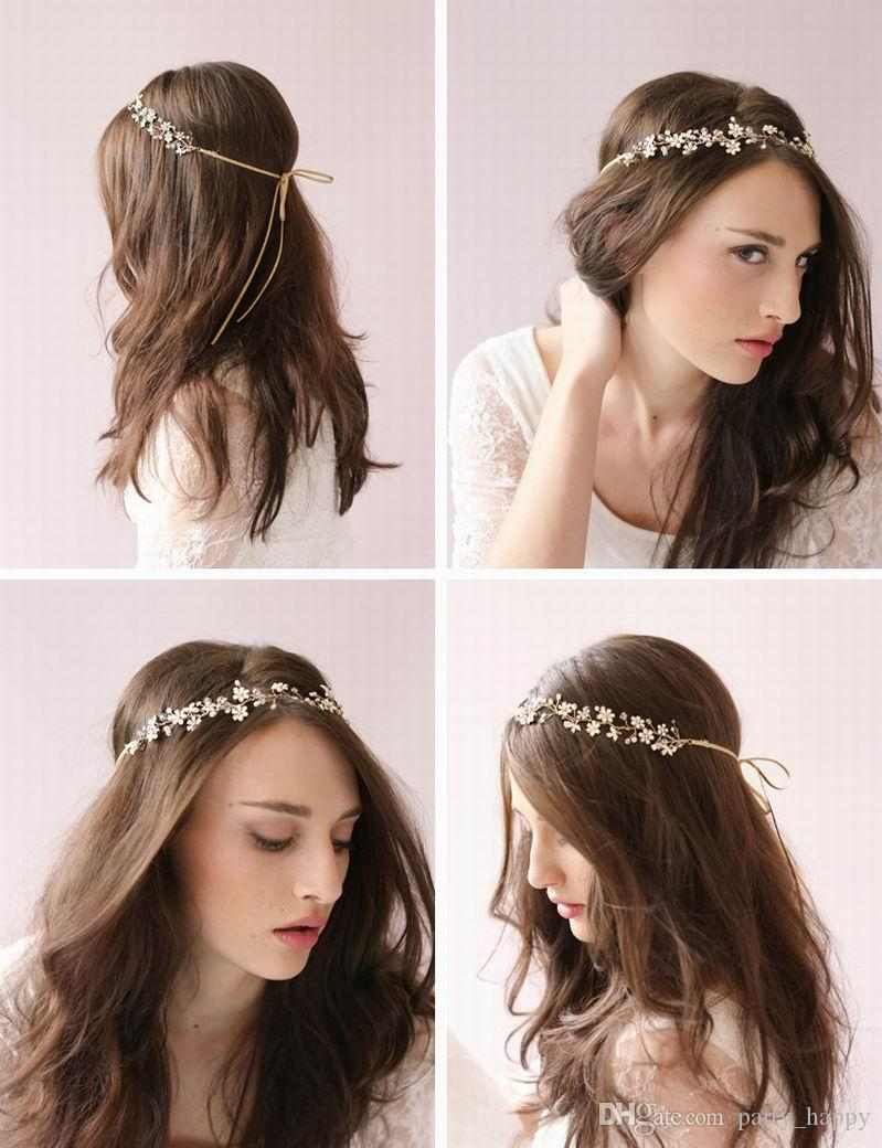 Crystal Bridal Stirnband handgemachte Hochzeit Tiara Vintage Party Haarschmuck Hochzeit Tiara Stirnband Haarschmuck Gold Blume Bridal