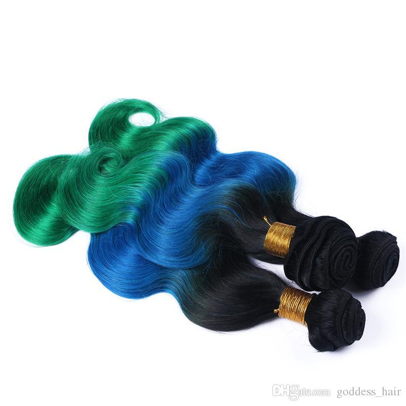 8А Ombre Наращивание волос три тона 1B / синий / зеленый Ombre Бразильская объемная волна Волнистые переплетения человеческих волос 3 пучка смешанной длины 10-30 дюймов