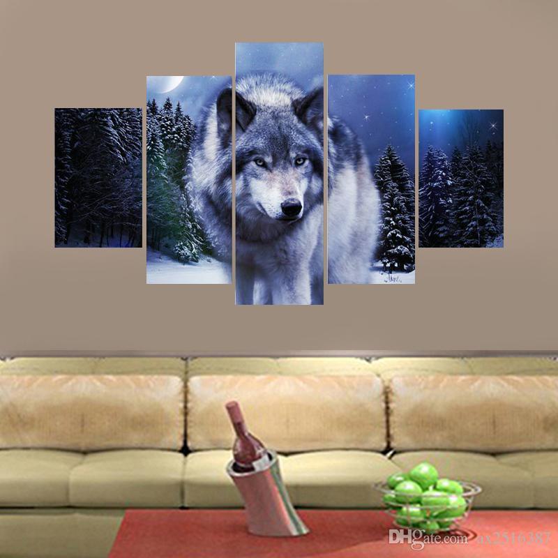 5 Pçs / set Lonely Wolf Imagem Cópia Da Lona Pintura Arte Da Parede para a Decoração Da Parede de Decoração Para Casa Arte DH011
