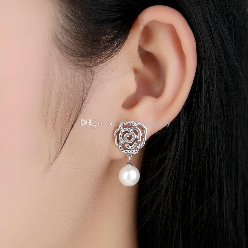 Authentic 925 Sterling Silver Female Floral Earrings with Rose & White Fresh Water Cultured Pearl Dangle Earrings ER034