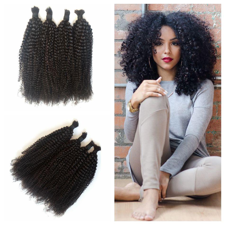 Malaysian Human Braiding Hair Bulk Kinky Curly Natural Black No Weft