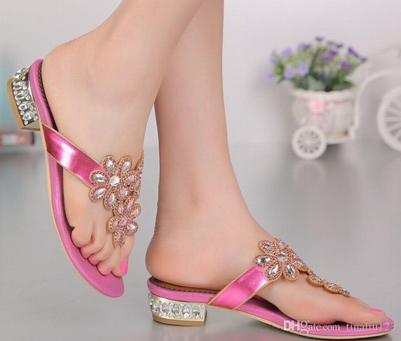 big size 34-44 women 2016 low heeled flip flops flat ladies sandals crystal luxury rhinestone flowers woman summer beach casual shoes fashio