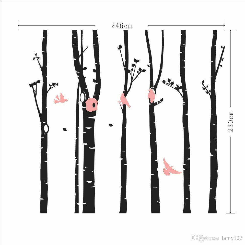 6 teile / paket DIY Große Wald Vögel Baum Wandaufkleber Wohnzimmer Schlafzimmer Hintergrund PVC Wasserdicht Abnehmbare Dekoration Aufkleber 98,9x90,6