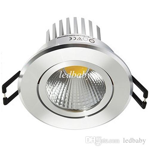 Silver shell led cob downlight dimmable 9w 600lm led spotlight ceiling lamp 110-240v natural white 4000k 120 angle + Led driver UL