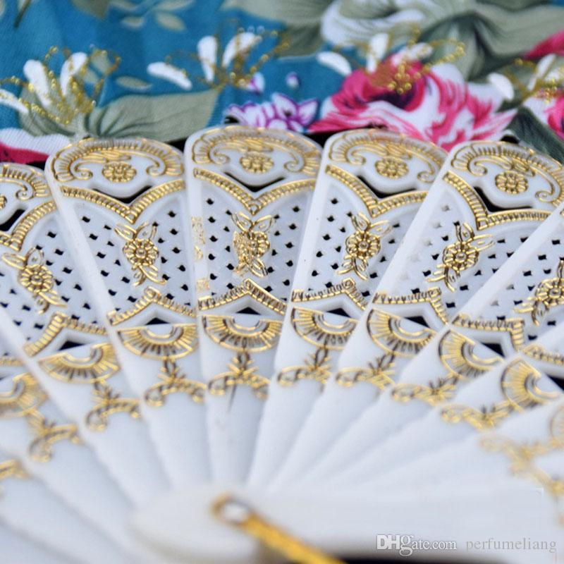 9 Inches Plastic Handle With Glittered Fabric Coverings Spanish Hand Fans Fancy Dress Event Party Supplies ZA4248