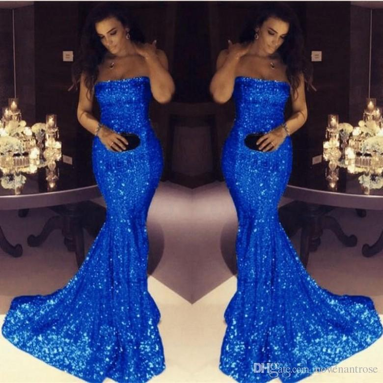 fad4e3da4de Sparkle Royal Blue Sequined Mermaid Evening Dresses Cheap Strapless Blush  Pink Prom Gowns Simple Modest Formal Dresses Evening Wear Evening Ball  Dresses ...
