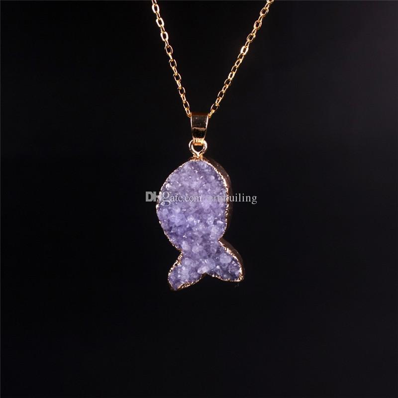 Agata naturale Drusy quarzo geode ciondolo in pietra collana di perle Marketing Trendy femminile misto placcato tinto ametista Druzy collana di cristallo di pesce