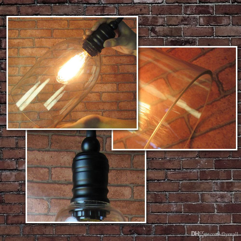 Pendant Light Fixture Vintage Pendant Lamp Glass Shade with Free E27 Edison Bulb Guaranteed 100% Retro Industrial DIY Ceiling Lamp