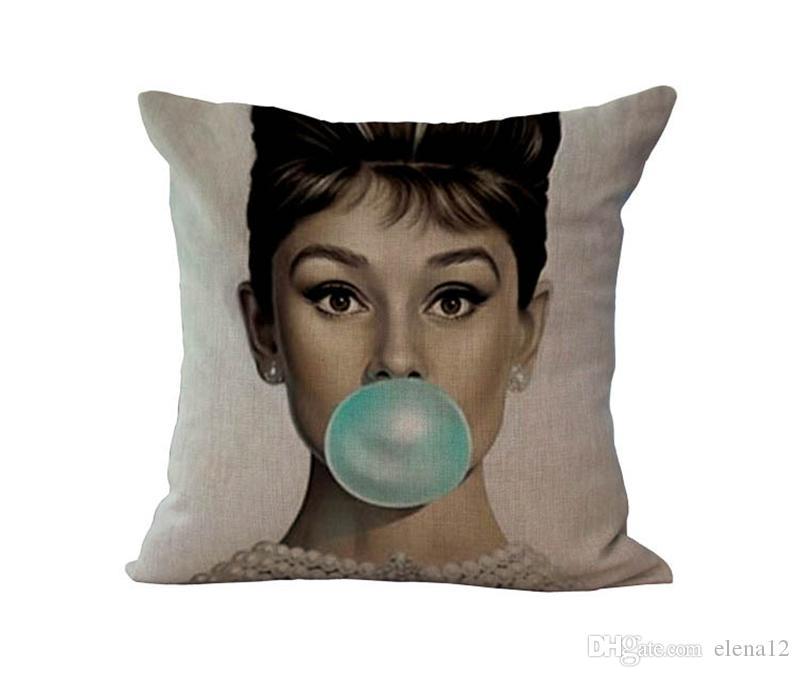 Federa di alta qualità Invisible Zipper Marilyn Monroe, federa di Hepburn, cassa del cuscino di lancio Marilyn Monroe Hepburn 240427