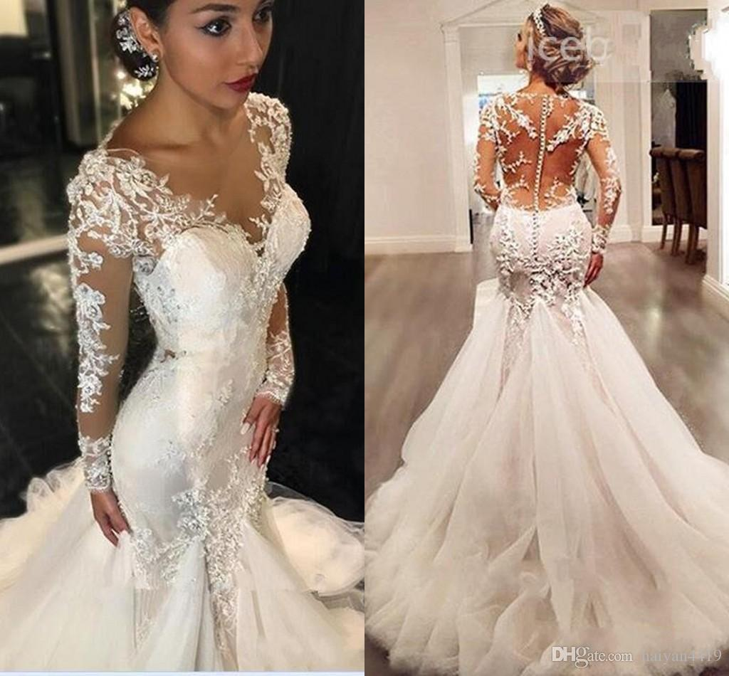 76fbce38a66 2018 Newest Mermaid Wedding Dresses Jewel Neck Long Sleeves Lace Applique  Beaded Chapel Train See Through Back Plus Size Formal Bridal Dress Wedding  Dress ...