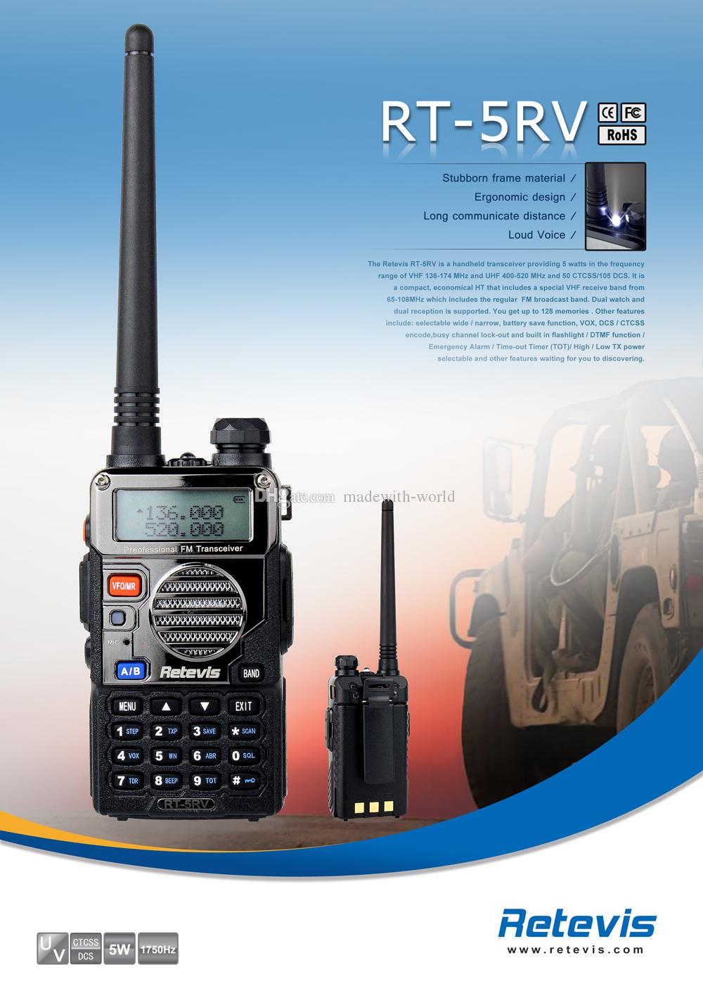 Retevis RT-5RV Walkie Talkie 5W 128CH UHF VHF + DTMF VOX Dual Band Dual Частота FM-радио Two Way Радио A7107A