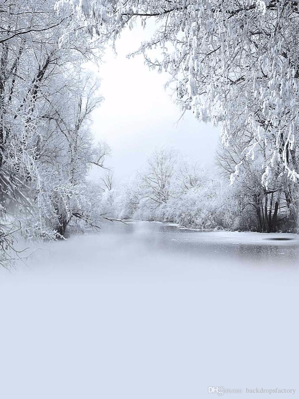 2018 Snow Covered Trees Frozen River Photography Backdrop Vinyl Winter Scenic Wallpaper Children Kids Holiday Photo Shoot Background For Studio From