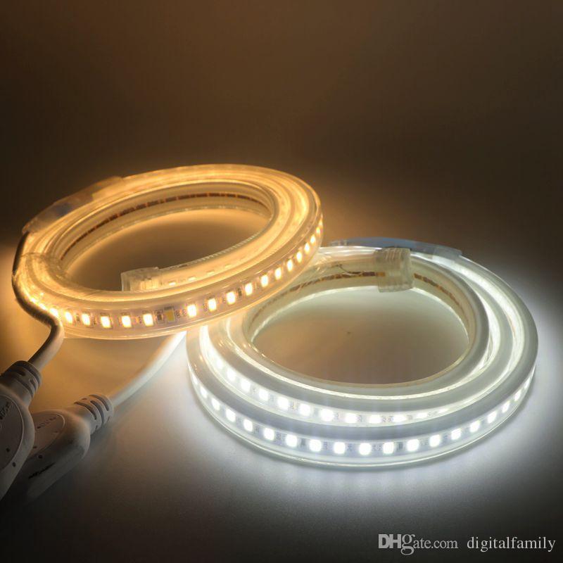 2016Summer Nuovo LED Tape SMD5630 / 5730 Impermeabile IP65 120led / m 1 m 2 m 3 m 4 m 5 m 6 m 10 m Hotel Decorazione Della Casa All'aperto LEDAC220v / 110 v + spina di alimentazione