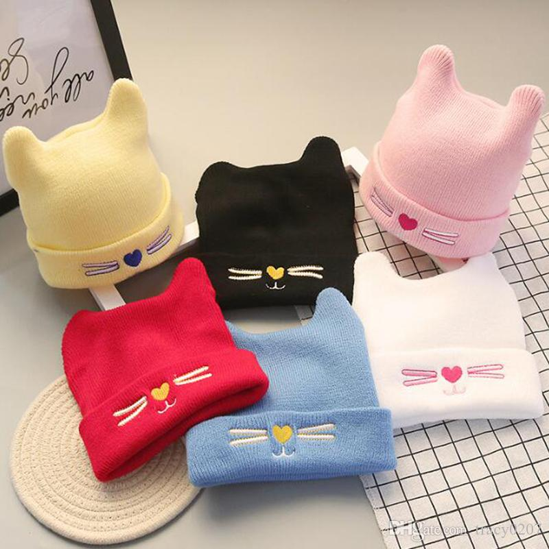 55938fa3ab0 Baby Girls Winter Warm Hats Cat Ear Caps Kids Knitted Caps Beanies  Children S Girls Cute Animal Sckullies Hats Online Caps From Tracy0207