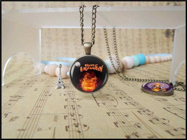 Happy Halloween Day Fury Anger Pumipkin Pendant Necklace Trick or Treat Jack O Lantern Charm Hallowas Gift for Boy Girl T1104
