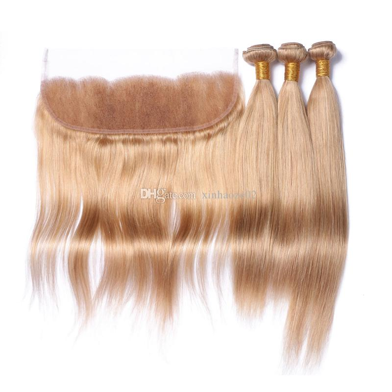 8A Indian Human Hair 13*4'' Ear to Ear Full Lace Frontal with Hair Bundles #27 Blonde Color Silky Straight Hair Extensions