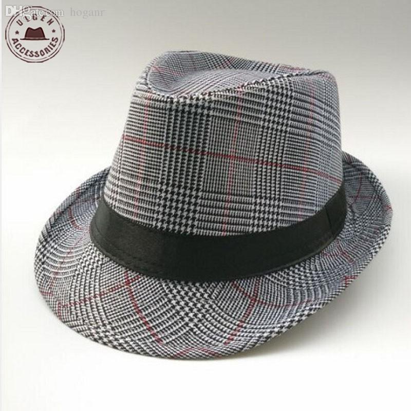 Compre Atacado Vintage Unisex Senhores Fedora Chapéu Xadrez Chapéus De Jazz  Para Homens Preto Panamá Chapéu Fedoras De Hoganr 08739ce0c3a
