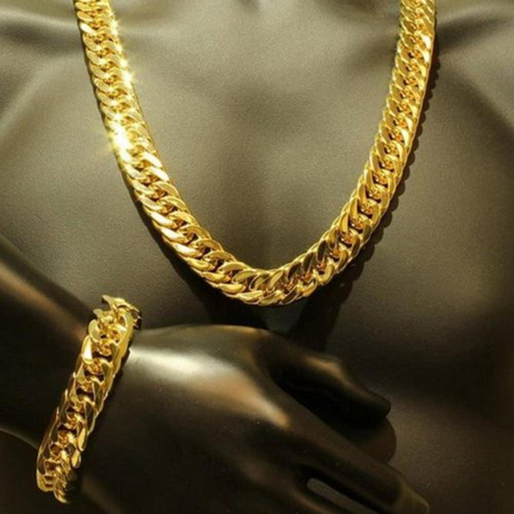 Mens Thick Tight Link 24k Yellow Gold Filled Finish Miami Cuban Link Chain and Bracelet Set 1.0cm wide (24 inches,9 inches)