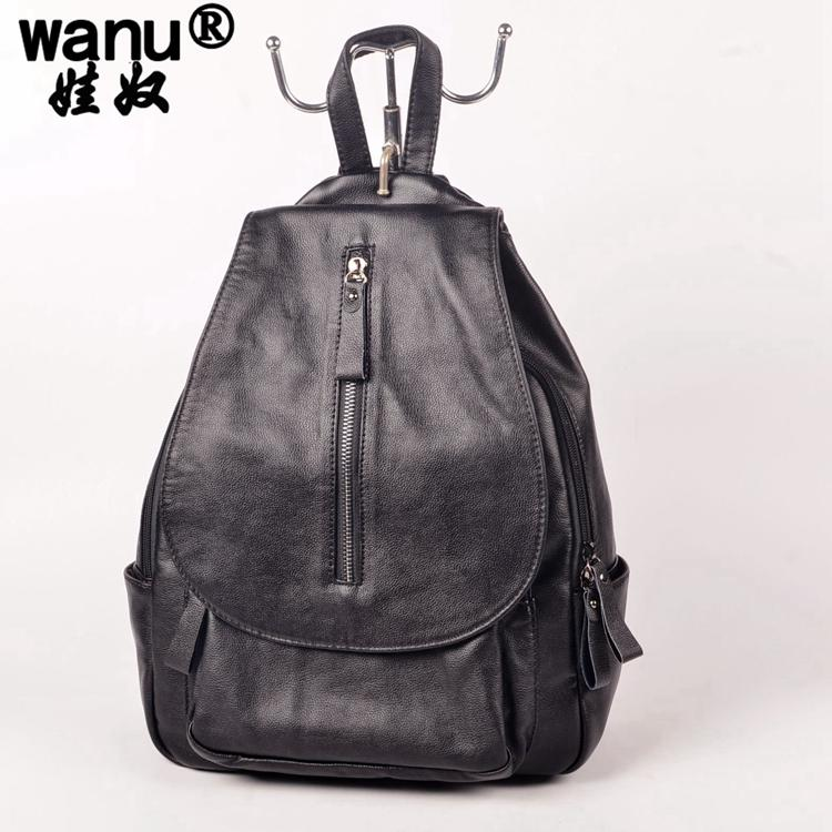 f5096a1be1 Wholesale- WANU New 2016 Genuine Leather Backpacks Women Bags Ladies ...