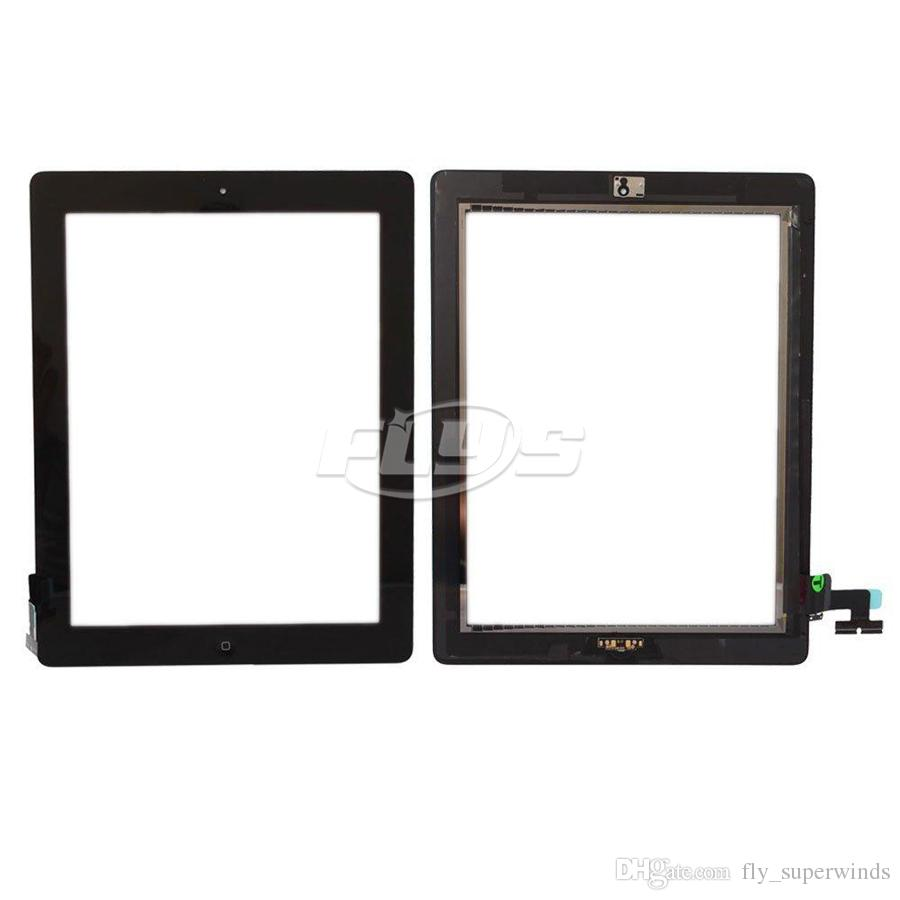 For iPad 2 3 4 Touch Screen Digitizer Assembly Replacements With Home Button Flex cable & IC Free DHL