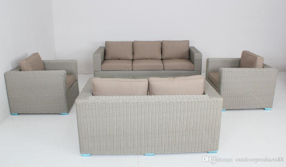 2018 Modern Outdoor/Wicker Furniture Set Sofa Ottoman With Cushions  Gradient Gray,Outdoor Pe Wicker Rattan Sofa Furniture, Garden Patio Lawn  Sofa From ...