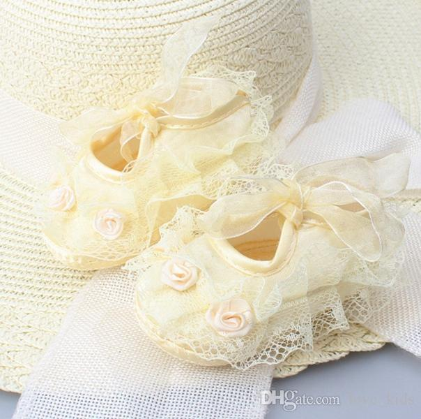 مولود جديد الوليد الرضع لطيف بنات الكروشيه الرباط زهرة الرباط حتى أحذية أطفال prewalker 0-12M الشحن المجاني