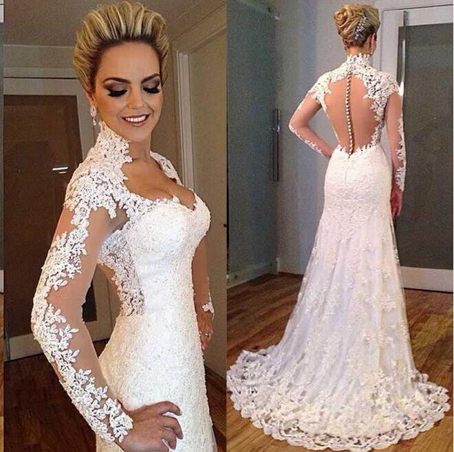 빈티지 레이스 웨딩 드레스 인어 스타일 높은 목 환상 스윕 기차 웨딩 가운 다시 덮여 버튼 우아한 신부 드레스
