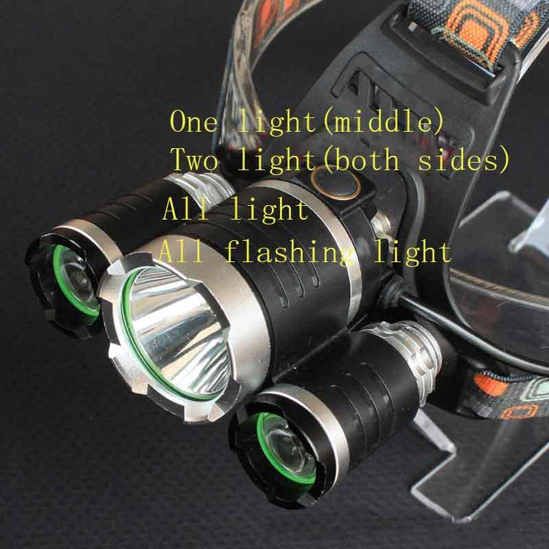 2*Battery + charger+car charger Headlight 3X CREE XML L2 LED Head light Headlamp 6000 Lumen Torch Flashlight Lamp