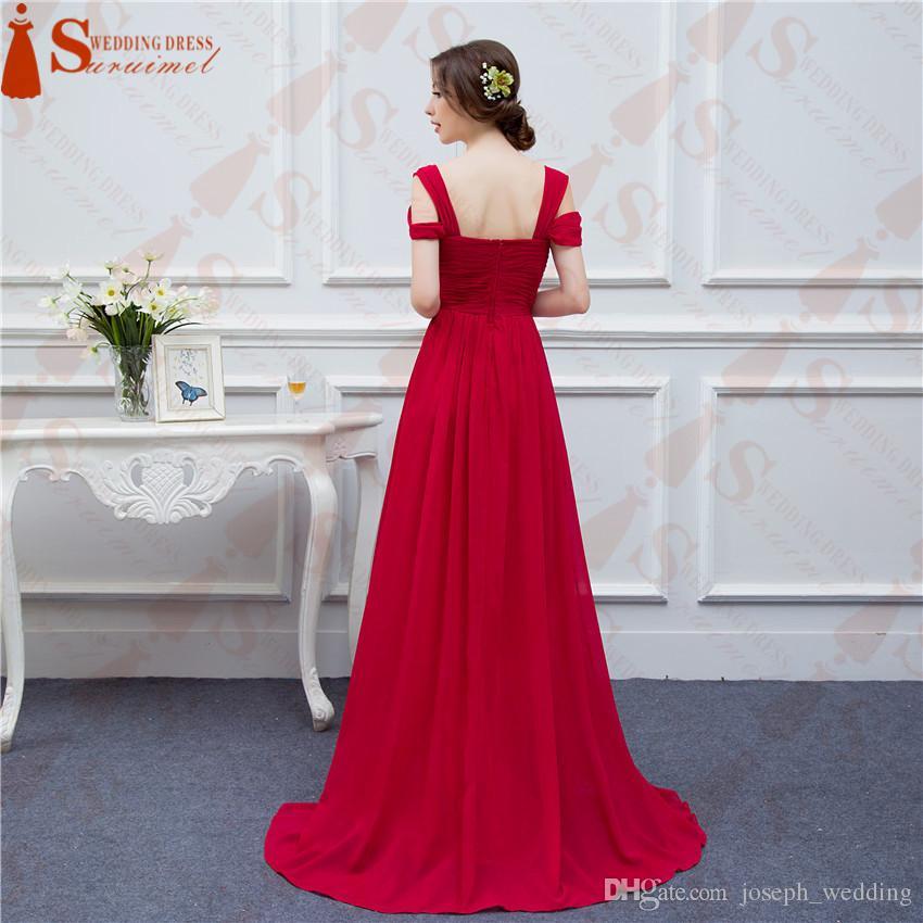 Ücretsiz Kargo Kırmızı Kare Boyun Vestiodos de Npiva Kat Uzunlukta Balo Elbise Akşam Uzun Parti Abiye modern stil Düğün Durum