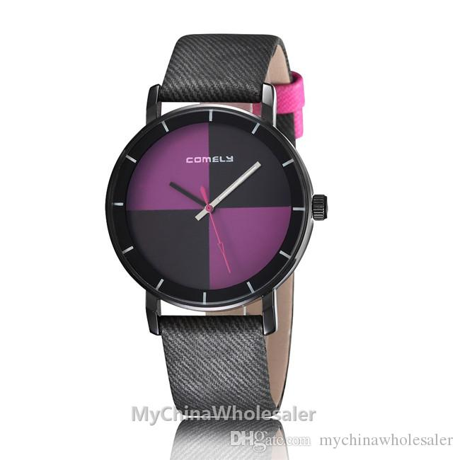 New Arrival Concise Design Watches Women Luxury Modern Casual Watch Chess Color Dial with Leather WristBand Quartz Relogio Watch Luxury