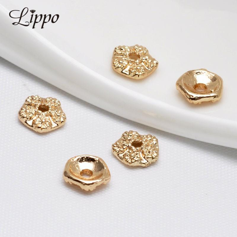 75mm Bead Cap for Jewerly Making 24k Gold Plated Rose Flower Beads