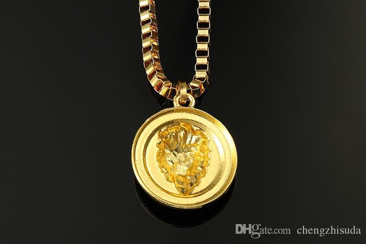 HOT 18K Or Argent Plaqué Lion Tête De Médaillon Pendentif Colliers Hip Hop pour mens bijouterie Haute Qualité