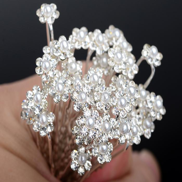Vente en gros de style coréen Femmes accessoires de mariage de mariée mariage narrle pince à cheveux fleur cristal strass chips pinces bijoux de cheveux de demoiselle d'honneur