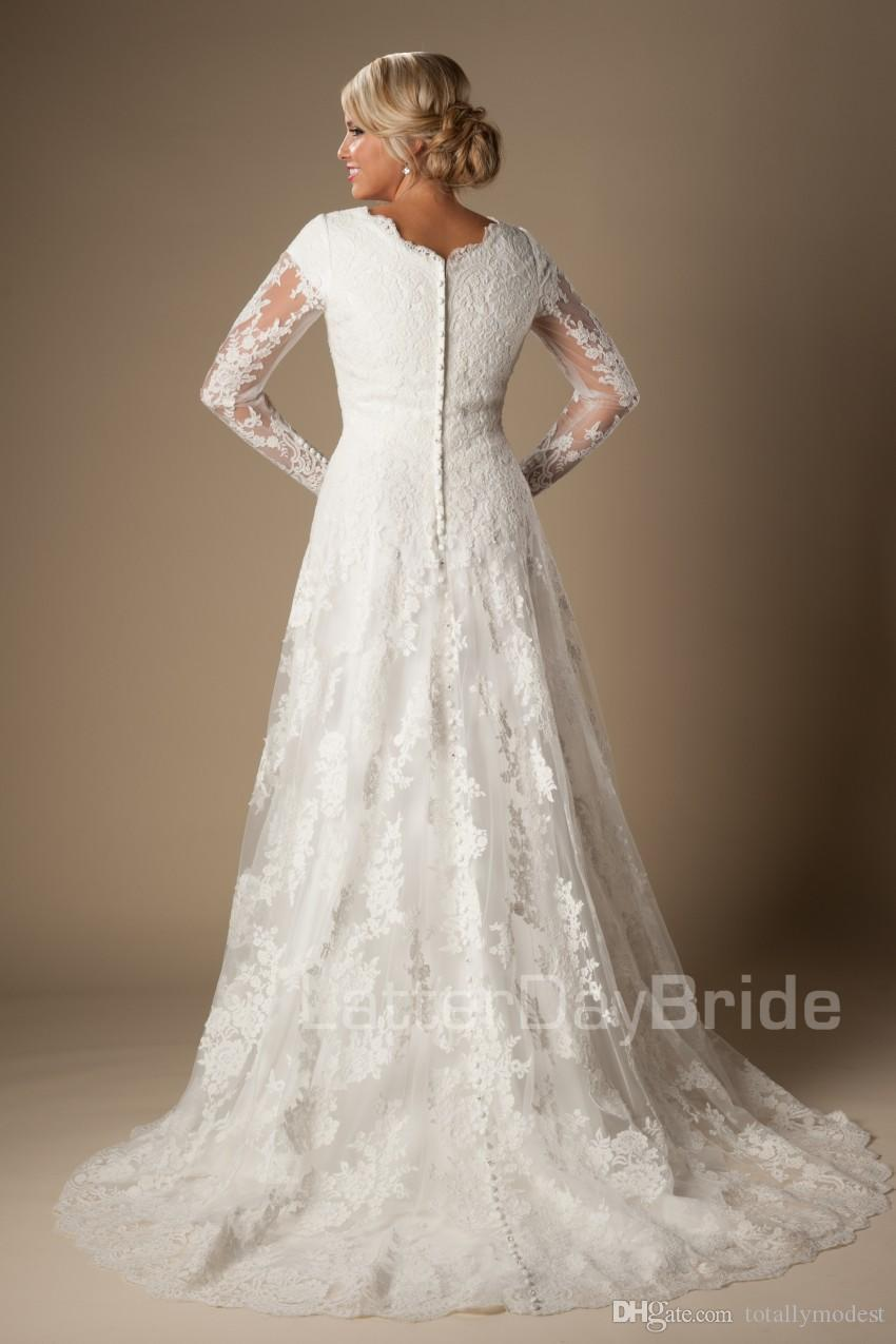 Marfil A-line Apliques de encaje vintage Vestidos de novia modestos con mangas largas Botones con cuello en v Mangas Vestidos de novia largos por encargo