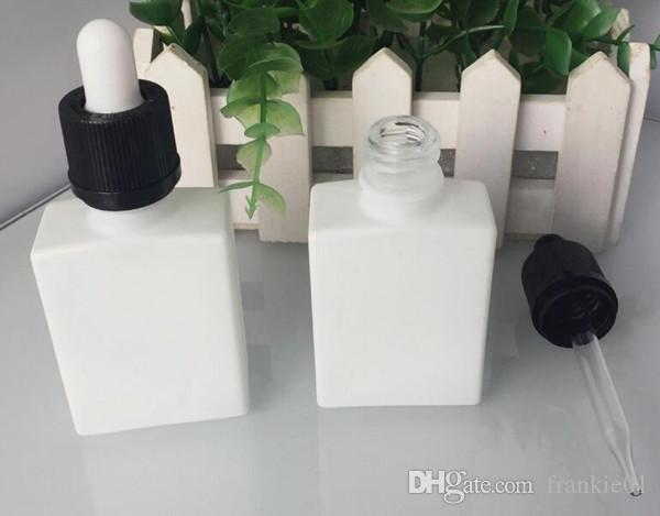 30 ml e sigara vape suyu damlalık şişeleri siyah kare düz e sıvı suyu cam 30 ml beyaz mavi yeşil boş vape suyu şişesi