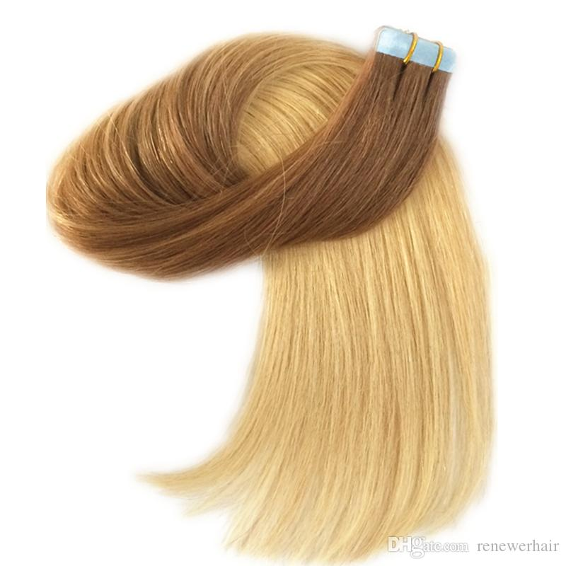 Real Natural Human Hair Skin Weft Dark Brown To Golden Blonde Ombre