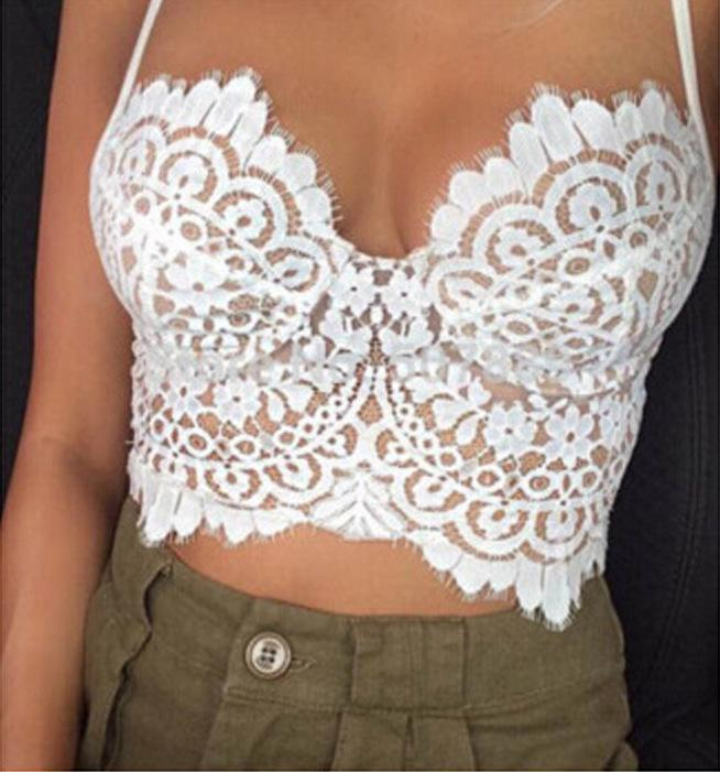 f1958d39550 2019 Wholesale Sexy Bra Lace Tube Top Camisa Feminina Plus Size Crop Top  Lace Bralette Crochet Hollow Tops Women S Short Camisole Bandeau Tops From  Honry