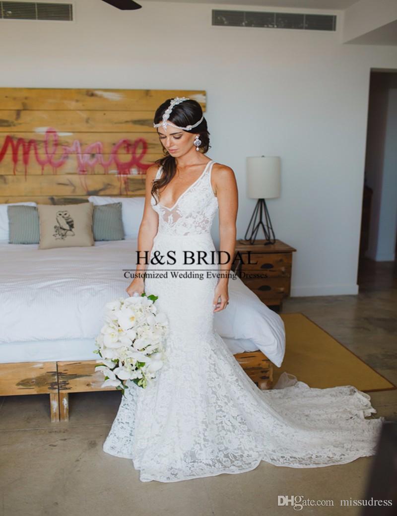 New Arrival Elegant vestido de noiva V Neck Custom Made Wedding Gown Mermaid Beach Lace Wedding Dress